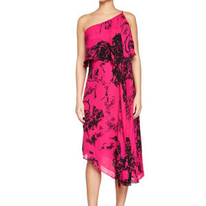 Halston 100% Silk Pink Black One Shoulder Dress M